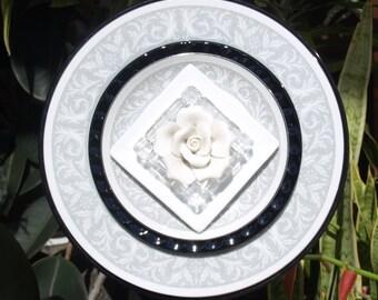 Black White Elegant Glass Plate Flower repurpose vintage garden art