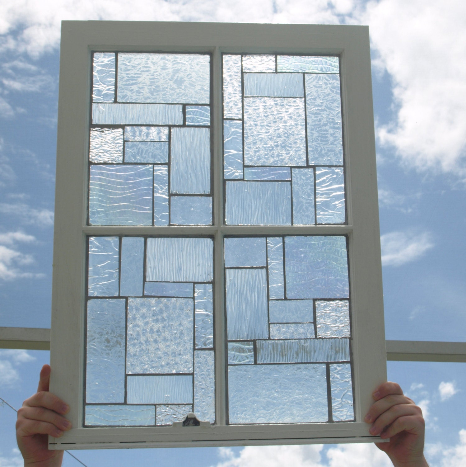 Clear Glass Windows : Clear textured stained glass mosaic vintage repurpose wooden