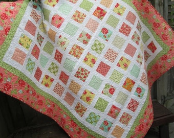 Twin Bed Quilt, Lap Quilt or Throw, Girl Bedding, Toddler Bedding, Picnic Blanket, Sofa Quilt, Graduation Gift