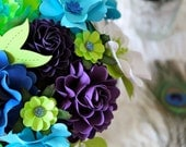 Peacock Inspired Cake Topper - Centerpiece  - Paper Bouquet -  Handmade Paper Flowers - Made to Order - Customize your style and colors