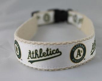 Oakland A's hemp dog collar or leash
