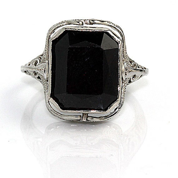 antique 18 kt white gold brown topaz and onyx by