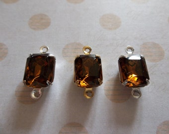 Brown Smoke Topaz Czech Glass Octagon Gems - 10X8mm Charms - Prong Settings Jewel Drops - Your Color Choice Metal Setting - Qty 2