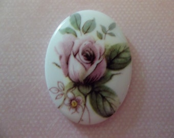 Vintage German Oval Decal Porcelain Painting 40 X 30mm Cabochons with Pink Rose on Chalkwhite Base - Qty 2