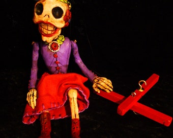 Small Day of the Dead Lady Skeleton Marionette (Made to Order)