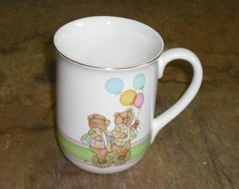 Clearance Vintage Otagiri Japan Cup Mug Bears Balloons Unicycle Pastel Colors Gold Trim Retro Serving Dish Dining Home Kitchen