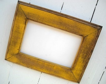 8 x 10 Picture Frame, Yellow Rustic Weathered Style With Routed Edges
