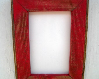 5 x 7 Wooden Picture Frame, Red Rustic Weathered, Home Decor, Rustic Home Decor, Rustic Frames, Wooden Frames, Rustic Wood Frames, Rustic