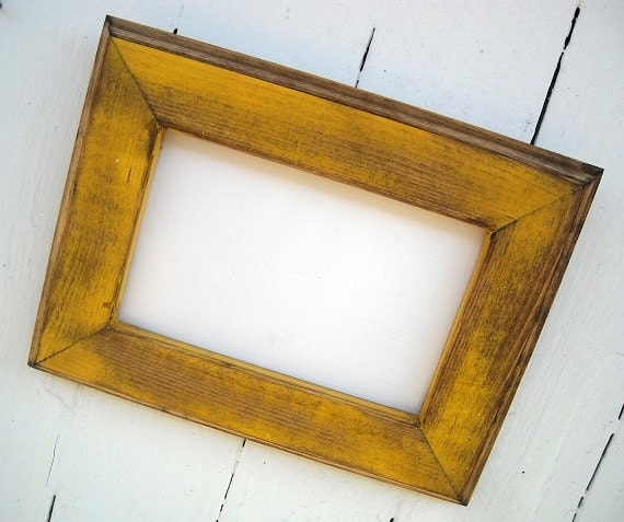 8 x 10 picture frame yellow rustic weathered by rusticsprings. Black Bedroom Furniture Sets. Home Design Ideas
