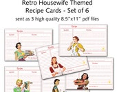 "Printable 1950's Retro Housewife 4""x6"" Recipe Cards - Set of 6 designs"