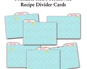 Printable 1950's Retro Housewife Recipe Divider Cards - Set of 6 Blue PLUS 2 blank cards