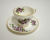 Vintage Duchess VIOLETTA English China Teacup and Saucer Set