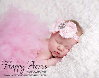 PRINCESS PINK TUTU with shabby chic headband, baby tutu, newborn tutu, photography prop
