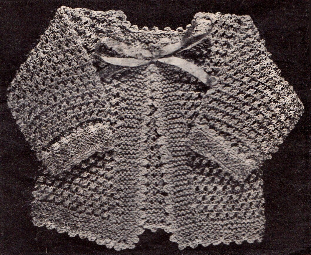 Vintage Knitting Patterns 1920s : Vintage Knit Baby Sweater Sacque Pattern 1920s Size 3 9
