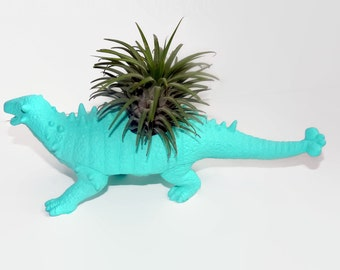 Custom painted dinosaur planter with air plant. Cool gift for teacher.