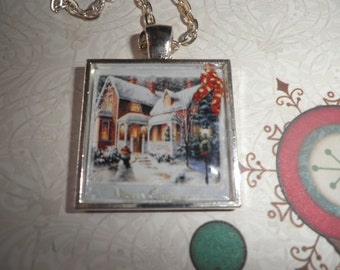 Snow Covered House Necklace