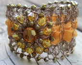 Autumn Orange Bracelet - Wire Crochet Bracelet - Romantic Wire Crochet Cuff - Swarovski Crystal Bracelet - Fall Jewelry - Topaz Crystal