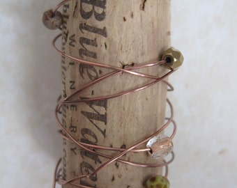 Wine Cork Pendant with Antique Copper and Silver Metals with Accent Colors in Moss Green and Pumpkin