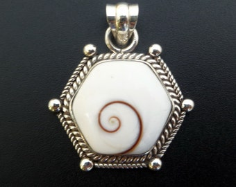 Handmade Sterling Silver and Shiva Eye Statement Pendant - White Shell Pendant - Hexagon Statement Pendant - Made to Order