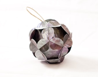 Warm Purple Green Floral Handmade Paper Christmas Ornament