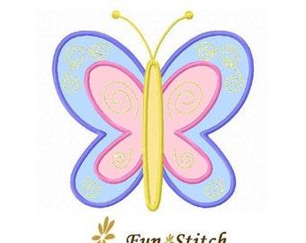 Pretty butterfly applique machine embroidery design