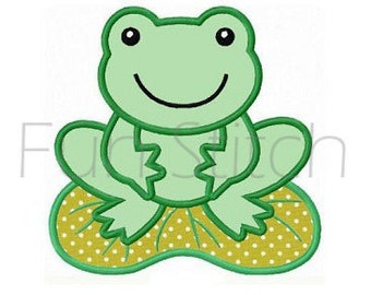 Frog applique machine embroidery design instant download