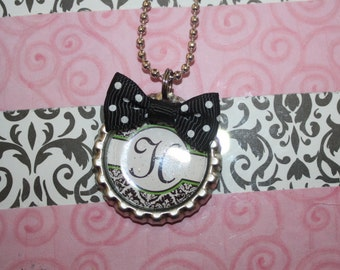 Personalized Bottle Cap Necklace with Bow
