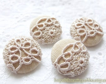 Fabric Covered Buttons - Chic Embroidery Ivory Beige Floral Lace (4Pcs, 0.87 Inch)