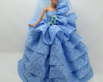 Barbie Doll Wedding Layer Gown Dress with veil Royalty Wedding7