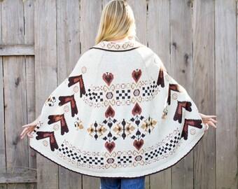 1970s Poncho Sweater Cardigan