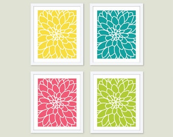 Modern Dahlia Flowers Art Prints - Flower Wall Art - Yellow Teal Pink Green -Spring Summer Decor