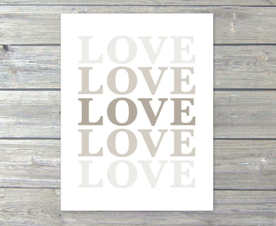 LOVE - Digital Print - Typography Modern Neutral Brown Taupe Decor Ombre Gradient Color Fade Wall Art