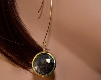 LP 1034    Round Hypersthene Vermeil Bezeled Drop Earrings