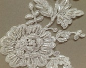 Ivory and silver Bridal Lace applique - AppSet- 20 Ivory Silver
