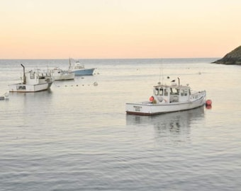 Cottage Decor, Ocean Prints, Monhegan Island Harbor, Lobster Boats, Bedroom Art, Fishing Decor, Maine Art, Seaside Art, Nautical Wall Decor
