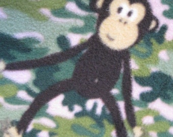 Handmade Fleece Blanket - Monkeys on Green Leaves with Pink - Ready to Ship Now