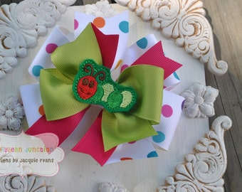 Boutique Bow - HUNGRY CATERPILLAR - Large Triple Layer Spiked Bow with Caterpillar Center - M2M Eric Carle's hungry Caterpillar