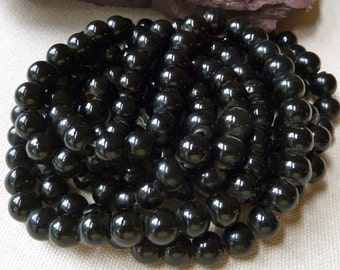Black Peking Glass Beads - Large Hole Beads - 11-12mm - Qty 9 pcs