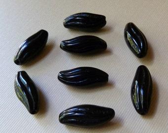 Vintage Black Twist Oval Glass Beads  - 18x8mm  -  Jet Black  -  Qty 5 pcs