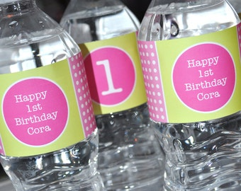 Water Bottle Labels - Polkadots Pink and Lime Green - Girls Birthday Party Decorations - 1st Birthday Party Decorations - Set of 10