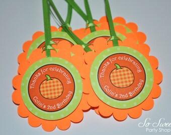 Pumpkin Birthday Favor Tags - Halloween, Autumn Birthday Party Decorations - Set of 12