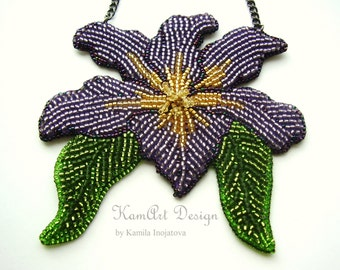 Bead embroidery necklace, iris flower pendant, purple handmade, gift for her