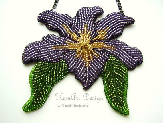 bead embroidery necklace iris flower pendant purple