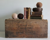 antique advertising wood box / industrial, farmhouse