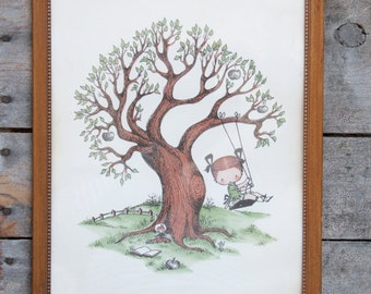 vintage child's wall hanging / framed artwork / childrens decor
