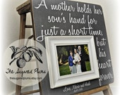 Mother of the Groom Gift, Personalized Picture Frame, A Mother Holds Her Son's Hand, 16x16 The Sugared Plums Frames