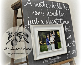 Mother of the Groom Gift, Mother in Law Gift, Personalized Picture Frame, A Mother Holds Her Son's Hand, 16x16 The Sugared Plums Frames