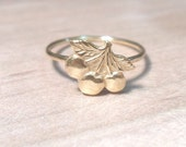 Cherries Ring, Knuckle Ring, Layering Ring, Above the Knuckle Ring, Gold Brass, Stackable Midi Ring, Cherries midi ring