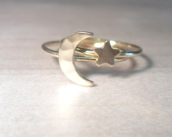 Moon and Star Rings, Crescent moon ring, star ring, Duo Knuckle Ring, Midi Rings, gold moon ring, gold star ring, gold rings, stacking rings