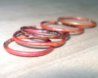 Copper rings, Stacking Rings, Torched Stack Rings, Flame Treated Copper, Stackable Rings, Boho chic, boho rings, copper stacking rings